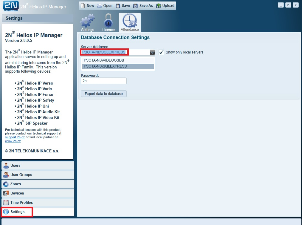 Attendance - How to export data from 2N® Helios IP Manager