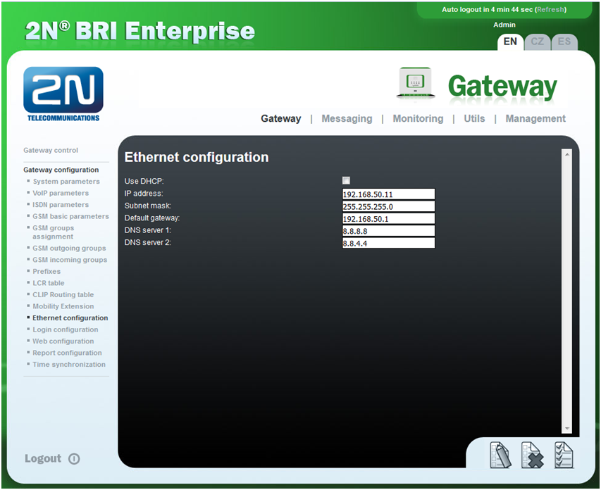Static IP address - How to set up static IP address on 2N® BRI Lite