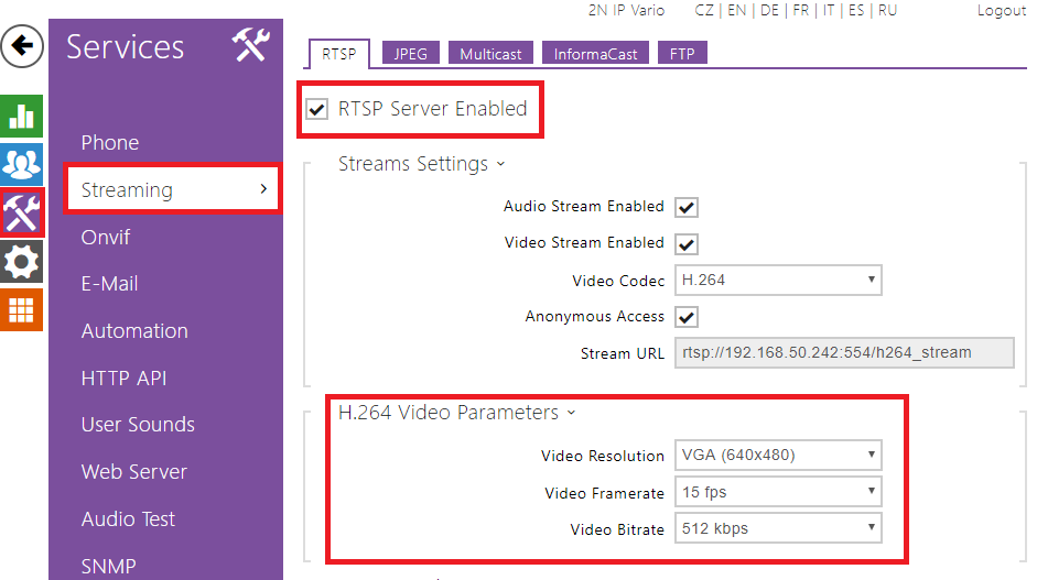 VLC Player - How to watch a video from 2N® IP Intercom RTSP server