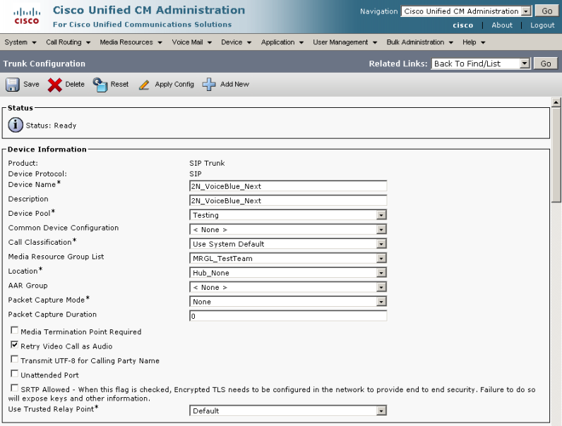 CUCM - How to interconnect with CISCO Call Manager 6, 7, 8