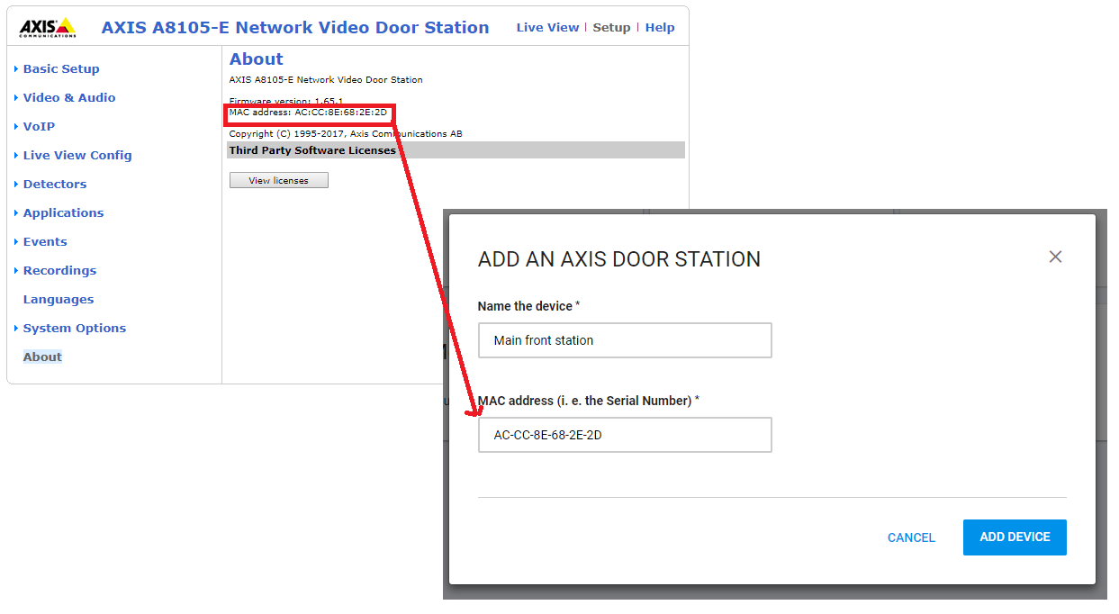 Axis door station - How to connect it to Mobile Video